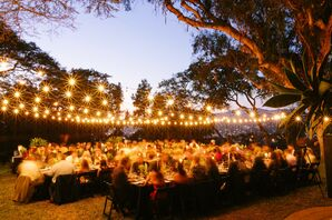 Sunset Reception with String Lights at Wedding in Los Angeles