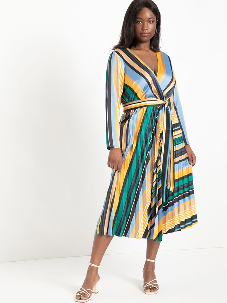 Bright striped wrap midi dress with long sleeves