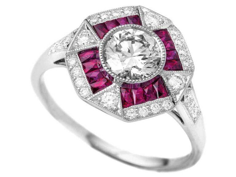 Geometric art deco diamond and ruby engagement ring