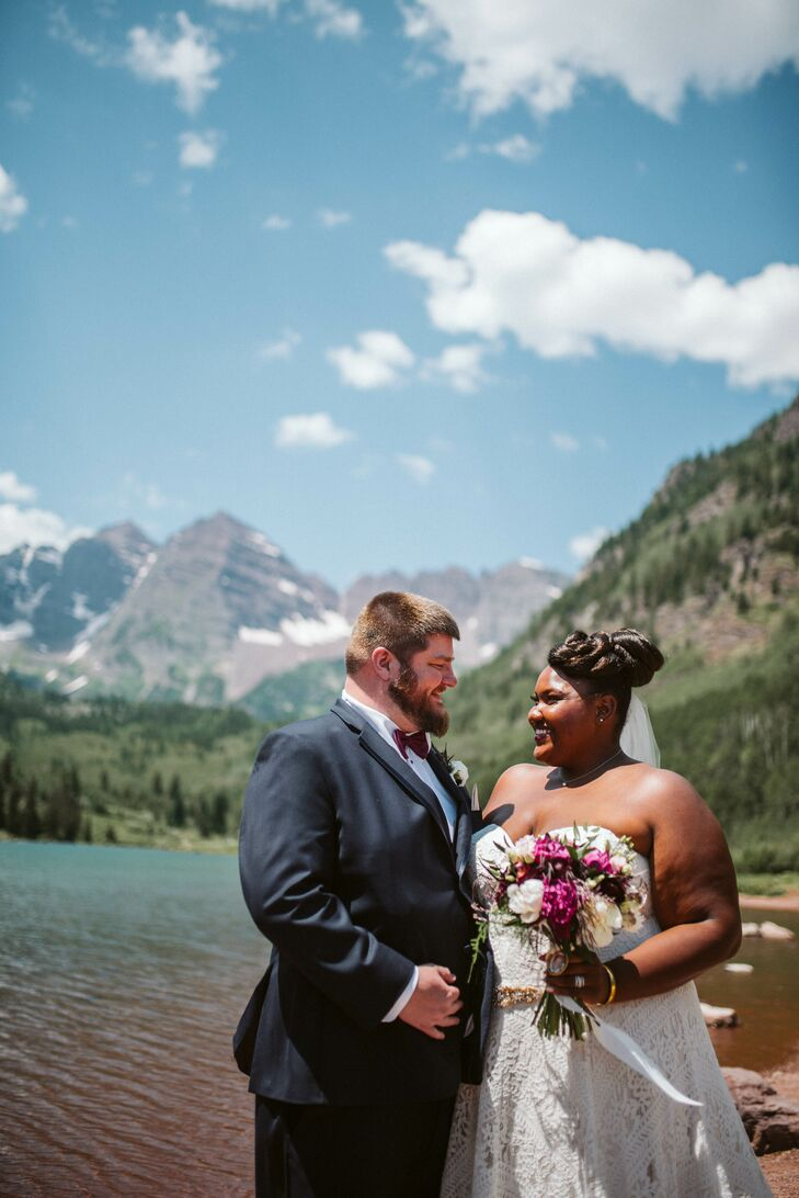 "Alyson	Hill and Evan Langran wanted to wed in the mountains, so they planned a ceremony and reception in Colorado. ""We knew the natural beauty and awe"