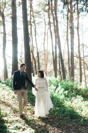 Bohemian Bride and Scottish Groom in Forest
