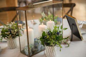 Hydrangea Terrarium Centerpiece Filled with Pillar Candles