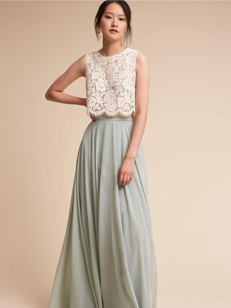 Green and white BHLDN spring bridesmaid separates