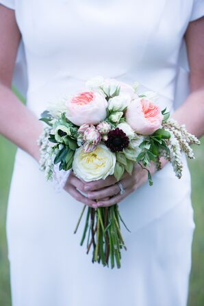 Neutral-Colored Garden Rose Bridal Bouquet