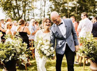 "Morgan Murphy and Matt Dean celebrated with a rustic, casual and natural wedding at Stout's Island Lodge in Birchwood, Wisconsin. ""We met living in Me"