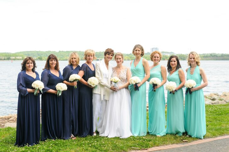 Long Classic Mint and Navy Bridesmaid Dresses