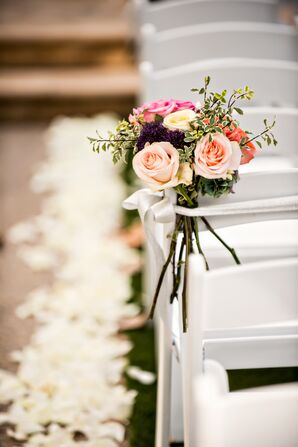 Pink Rose and Ivy Aisle Decorations