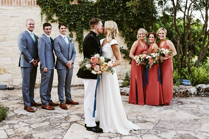 Chic Gray Suits and Long Red Bridesmaid Dresses