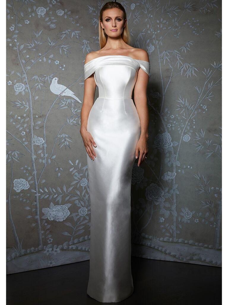 Legends by Romona Keveza wedding dress off-the-shoulder column dress