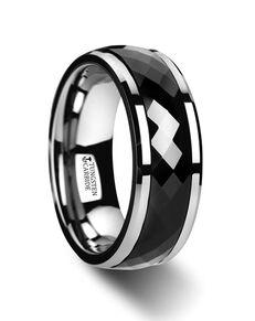 Mens Tungsten Wedding Bands W3080-BCSR Tungsten Wedding Ring