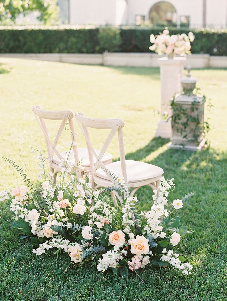 White Cross-Back Chairs for Backyard Wedding Ceremony