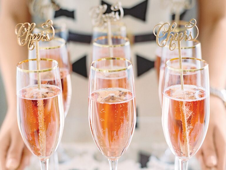 pink champagne wedding drink