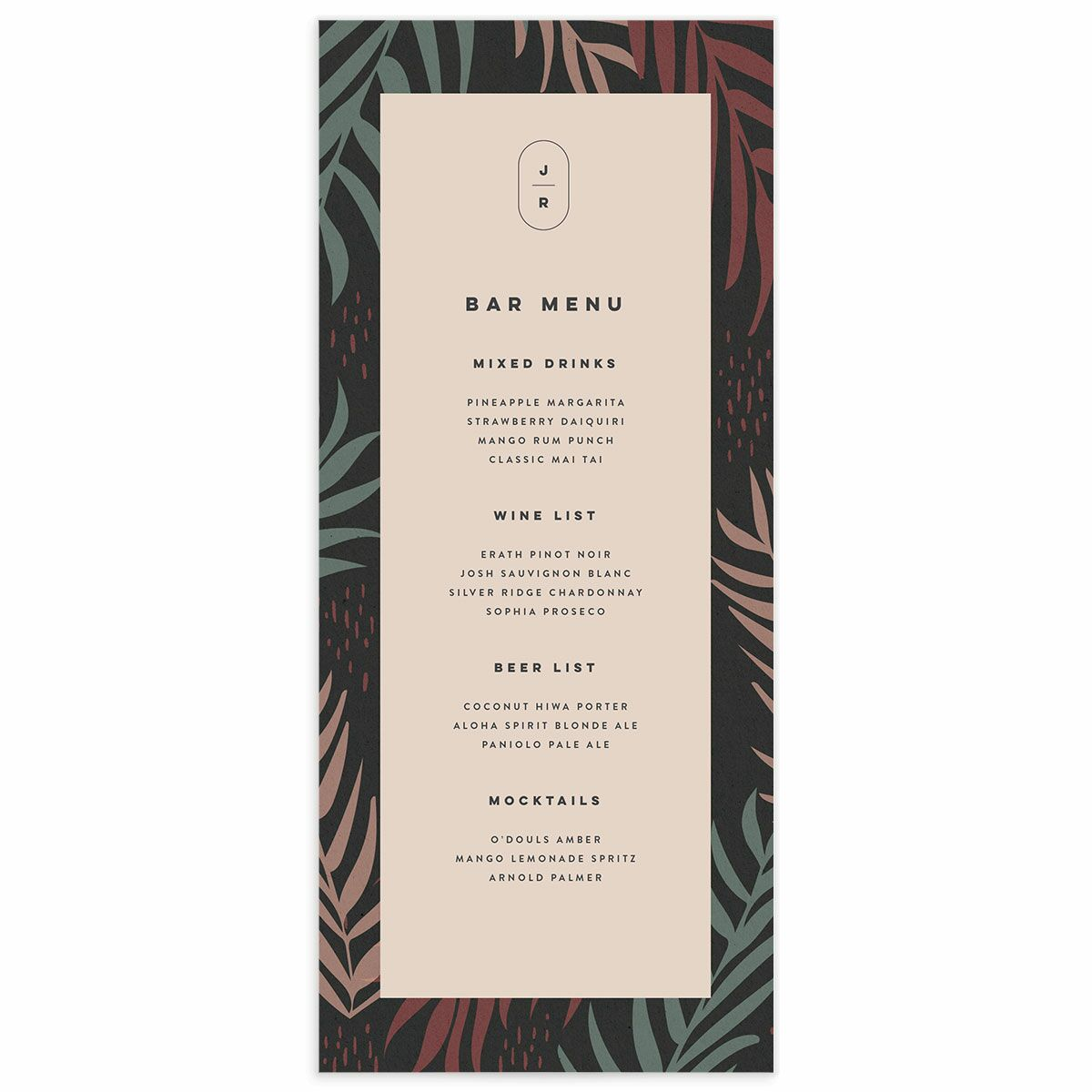 A Menu from the Modern Palm Collection