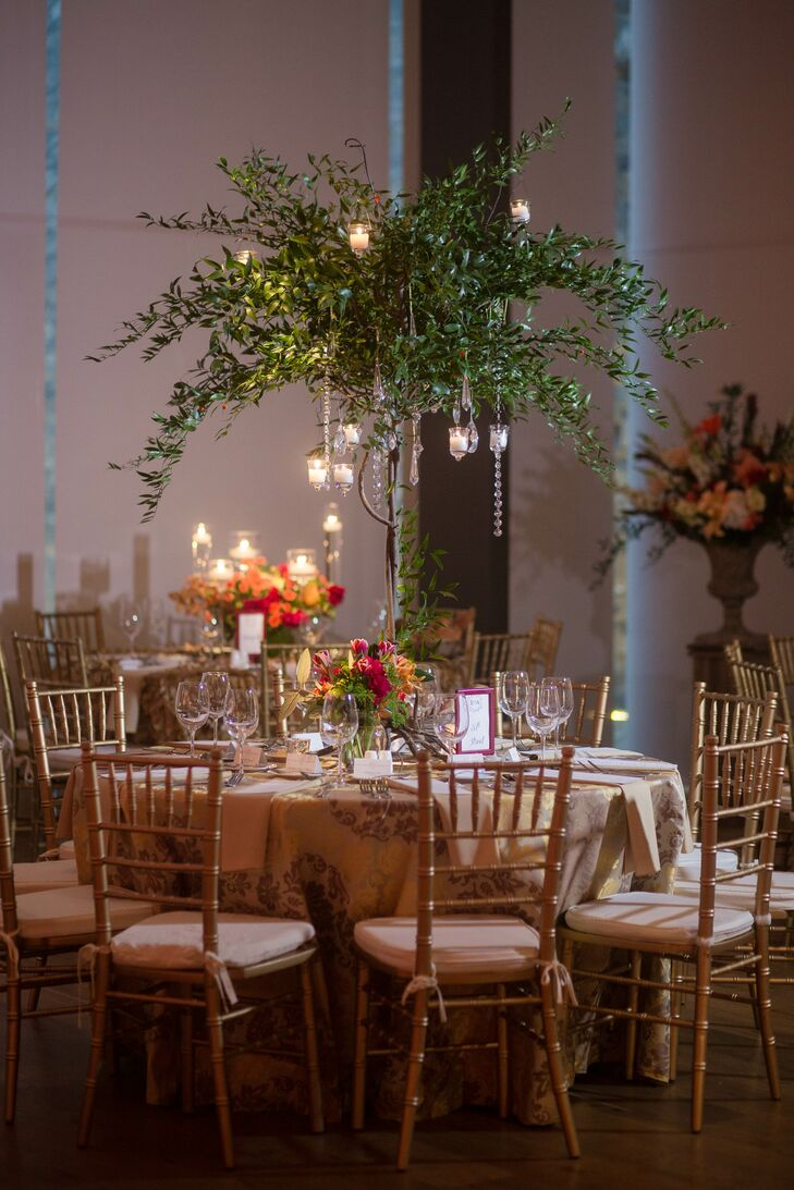 Blush and Gold Reception with Tall, Greenery-Filled Centerpieces