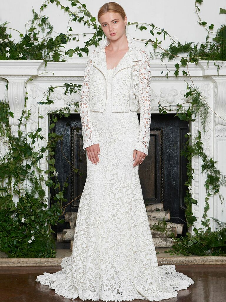 Monique Lhuillier Fall 2018 white eyelet fit and flare wedding dress with matching jacket