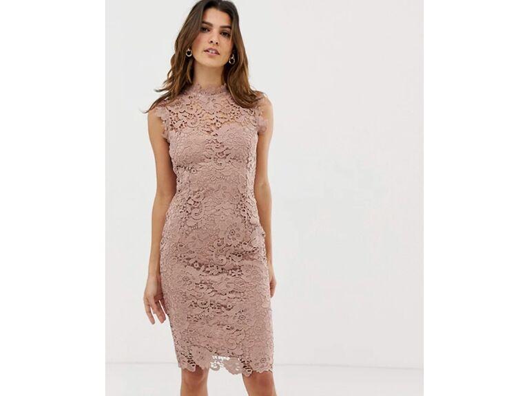 Blush pink lace sleeveless mini dress