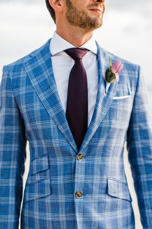 Blue Check Suit With Purple Tie and Tulip Boutonniere