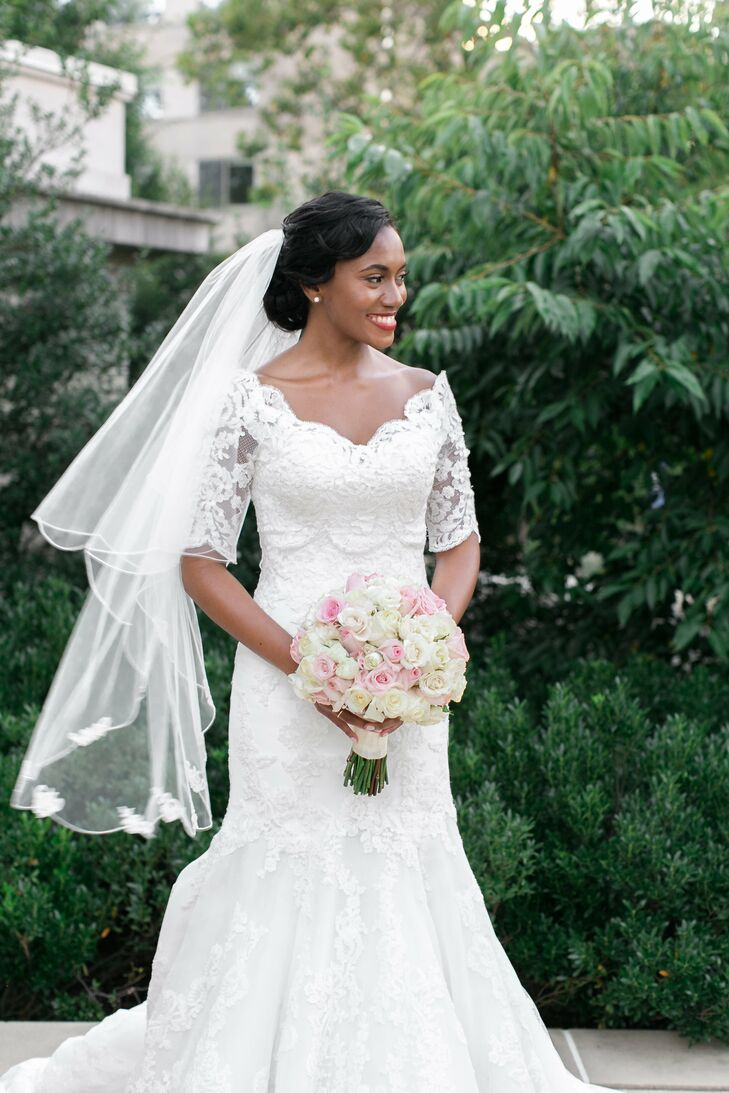 White Strapless Wedding Gown With Lace Bolero