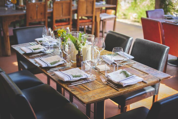 Rustic Wood Tables and Striped Linens