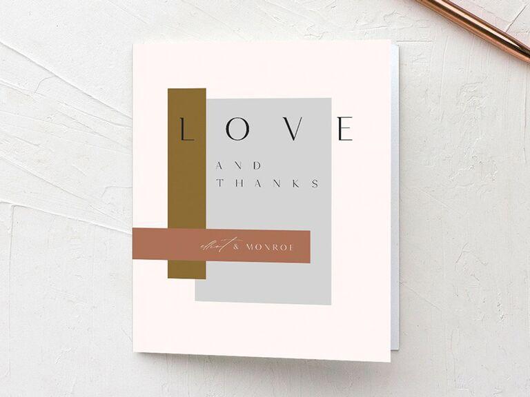 modern design wedding thank-you card