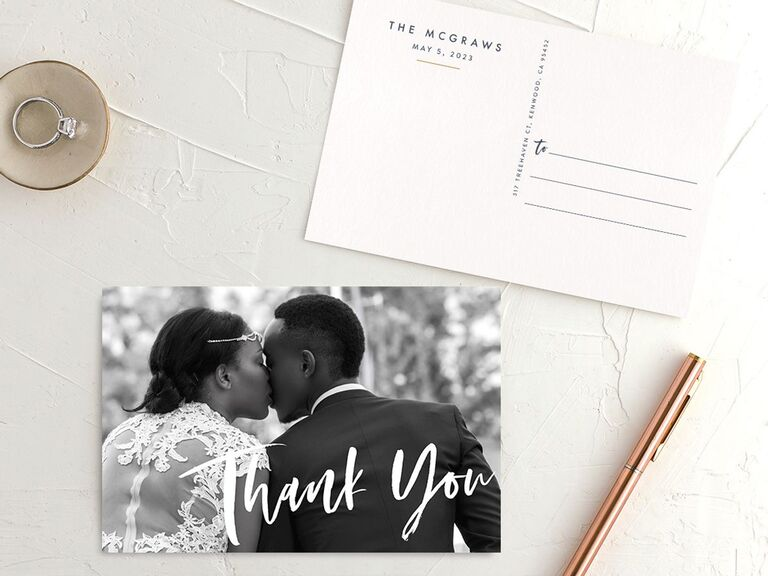 modern couple photo wedding thank-you postcard