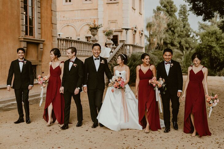 Wedding Party Portraits at Villa del Sol d'Oro in Sierra Madre, California