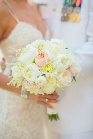 Ivory Bouquet with Blush Garden Rose Accent
