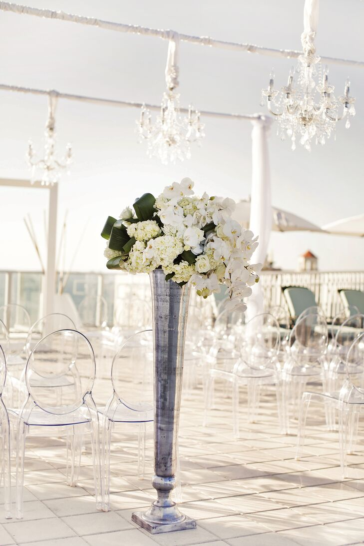 White Orchid and Hydrangea Arrangement in Tall Silver Vase
