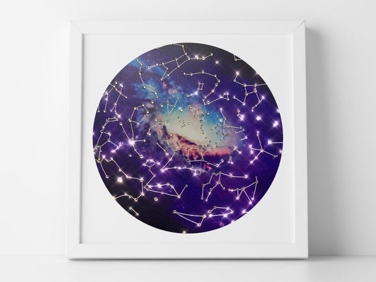 Custom circular map of the stars in white frame with crystal stars