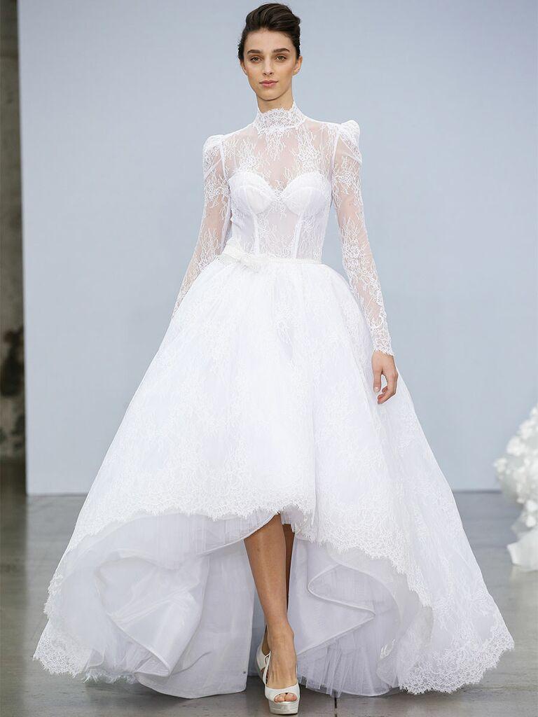 Pnina Tournai wedding dress long-sleeve high-low gown