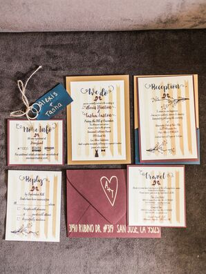 Gold-Striped Invitations with Bird Motif