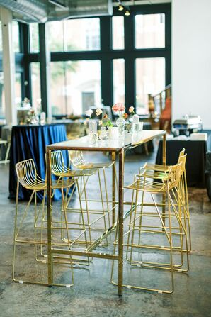 Gold Chairs and High-Top Table for Reception at 701 Whaley in Columbia, South Carolina