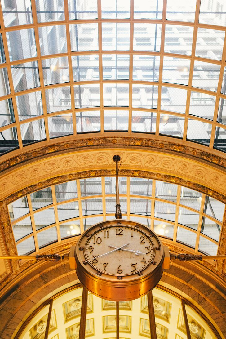 Glass Golden Ceiling and Clock
