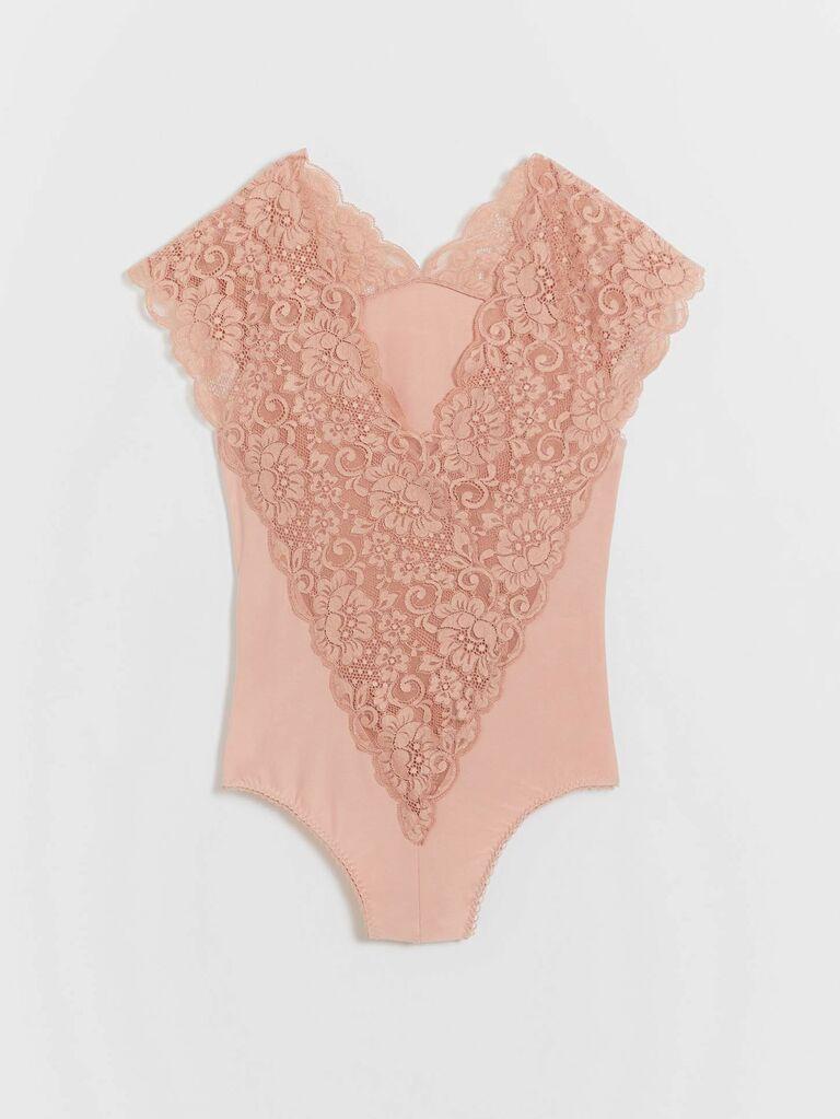 blush lace bodysuit