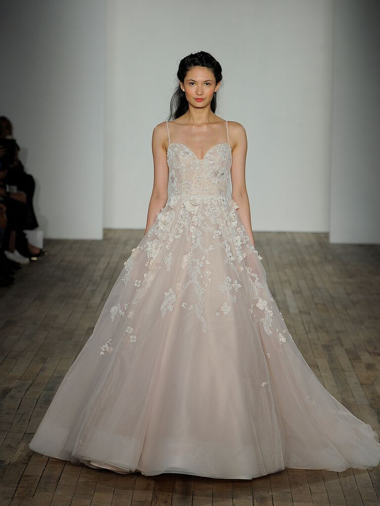 3e3a5de6527ea Hayley Paige Spring 2018 Arden rose lace and tulle ball gown with floral  caviar detail