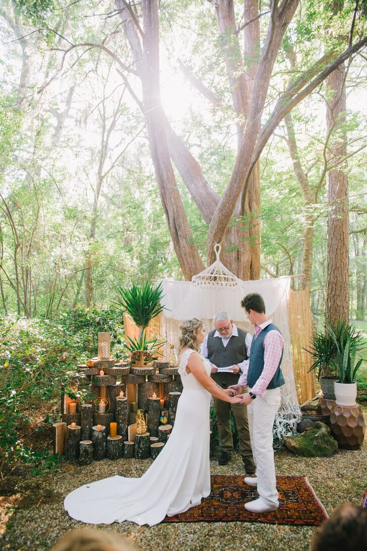 Vow Exchange Outdoors Among Boho Accents