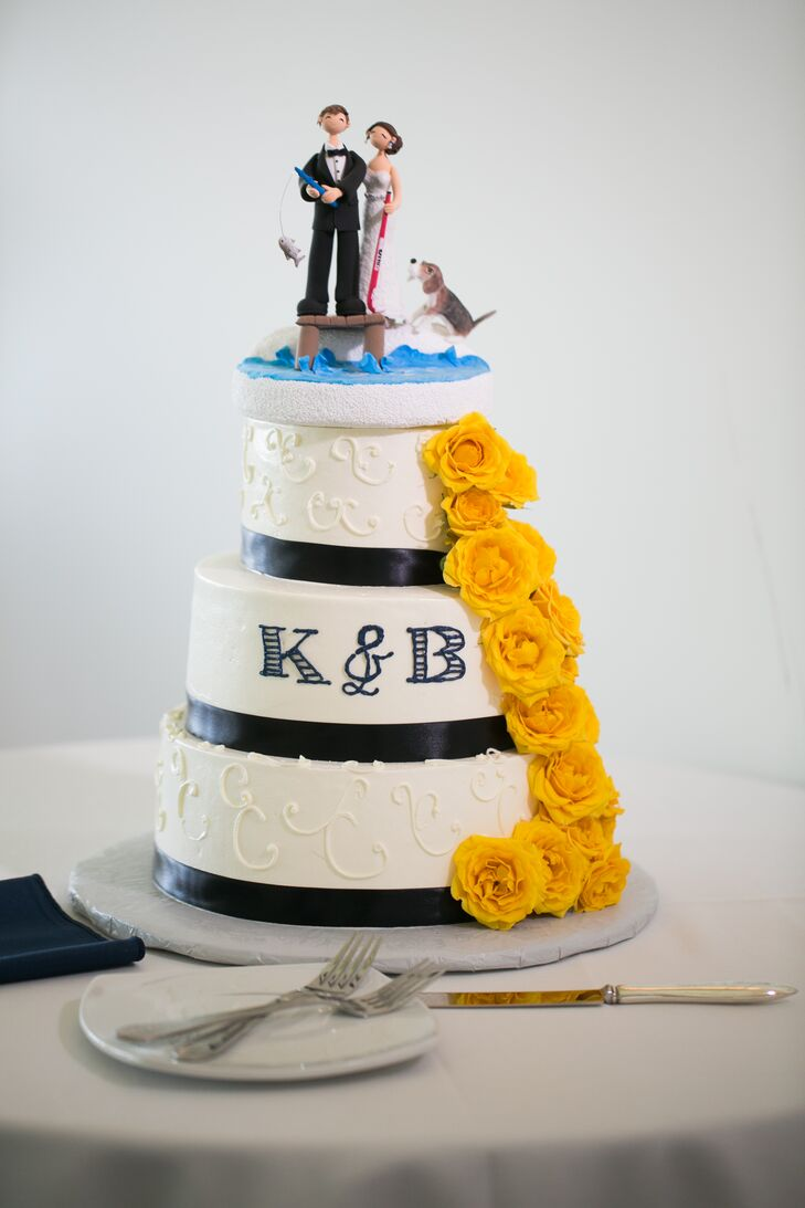 Tiered Wedding Cake With Nautical Topper