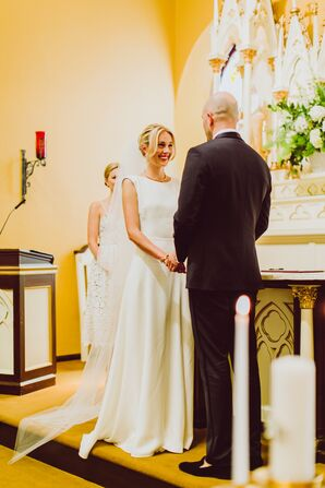 Houghton Custom Wedding Dress and Cathedral-Length Veil