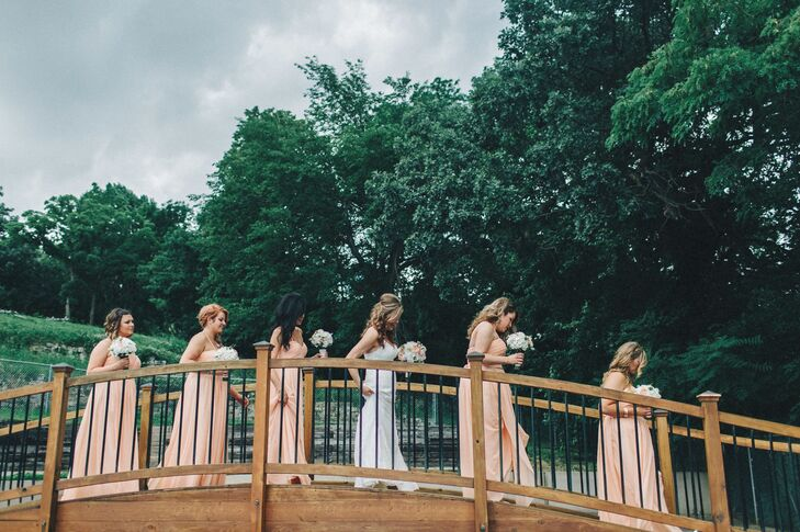 Bridesmaids and Bride Across the Bridge