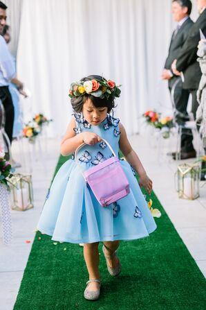 Whimsical Flower Girl in Butterfly Dress
