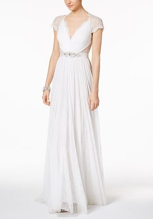 Adrianna Papell Wedding Dresses Adrianna Papell Illusion Embellished A-Line Gown- Scoop A-Line Wedding Dress