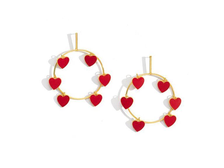 Heart hoop earrings bachelorette party gift