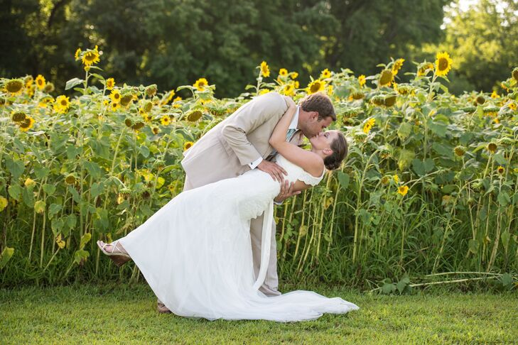 The couple exchanged vows at Robert's family farm in front of a backdrop of homegrown sunflowers.