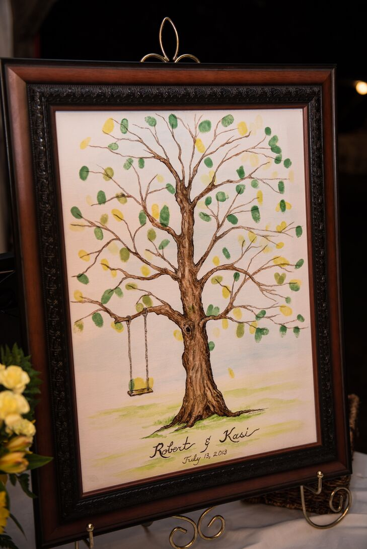 Instead of having a thumbprint tree replace a traditional guestbook, guests were invited to contribute their thumbprints to create custom art.