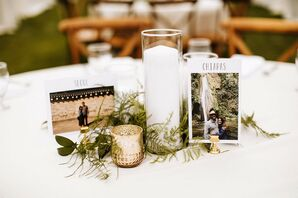 Rustic Centerpieces with Table Names, Candles and Greenery