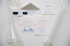Illustrated Blue and Orange Wedding Invitation
