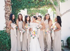 Bridesmaids in Neutral Beige Jumpsuits
