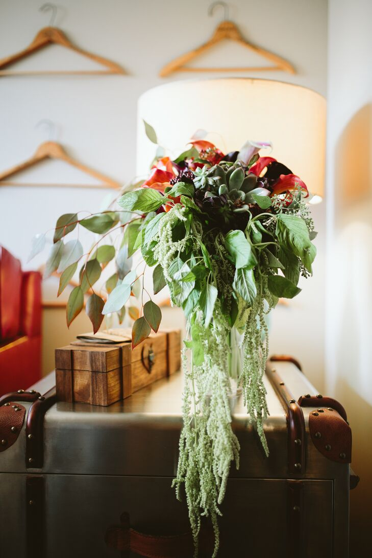 Cascading Amaranthus, Calla Lily and Succulent Bouquet