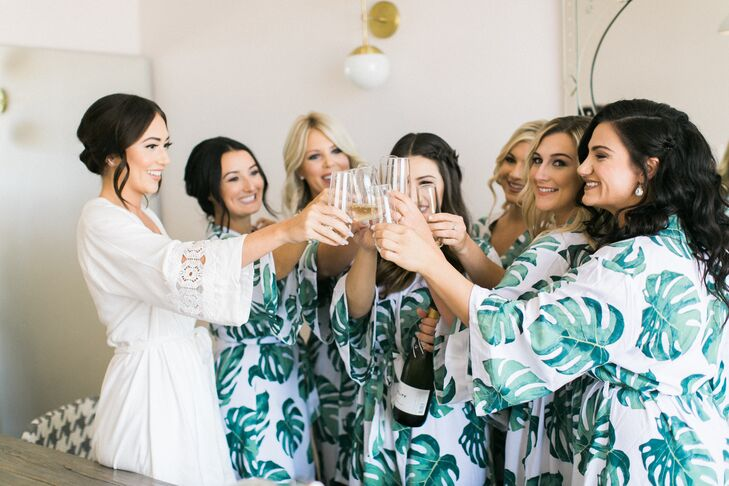 Bridesmaids Getting Ready in Banana Leaf Robes