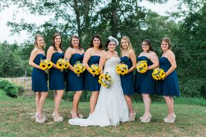 Short Strapless Navy Bridesmaid Dresses